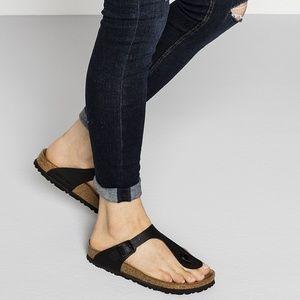 Birkenstock Gizeh Black Birko Flor Thong Sandals